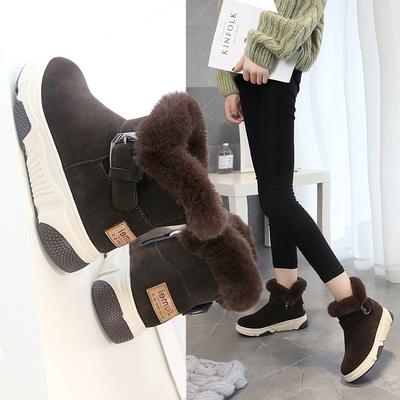 加绒短靴学生休闲时尚雪地靴保暖棉鞋