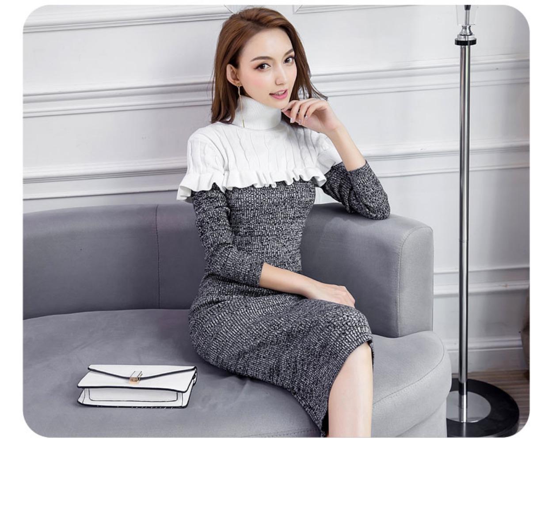 高仿圣罗兰ysl2018新款修身打底针织连衣裙高领QHU432 第16张