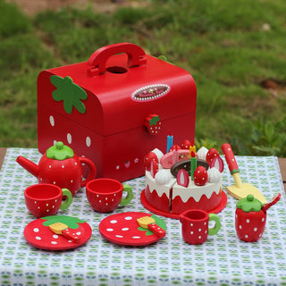 Strawberry cake honestly happy to see wooden play house kitchen girl toy wooden children's birthday suit