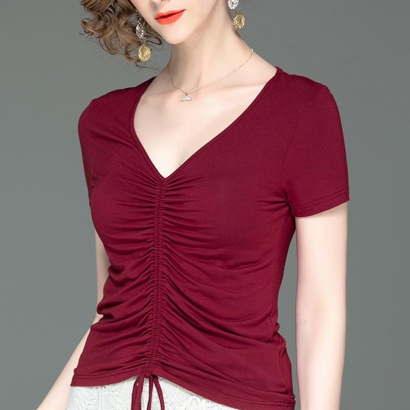 秋装新款纯色长袖t恤女V领显瘦简约黑色小衫收腰红色上衣气质女装