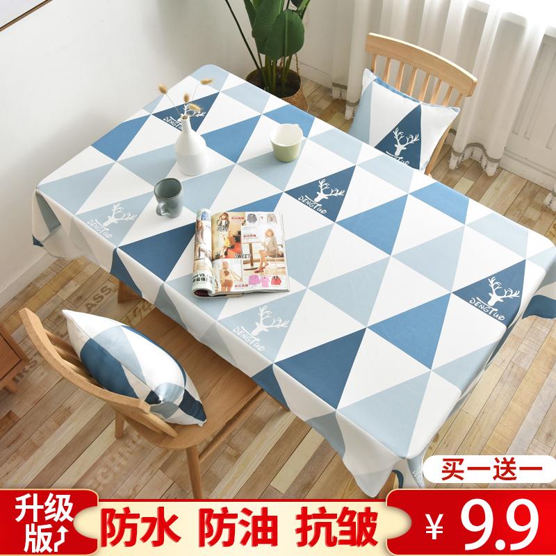 Khăn trải bàn không thấm nước và không dầu dùng một lần bông và khăn trải bàn Bàn cà phê Bàn Bắc Âu bàn học sinh bàn ăn vuông lưới vải đỏ nghệ thuật - Khăn trải bàn