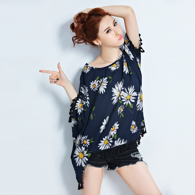 Special plus fertilizer plus size chiffon shirt fat mm summer fat sister women fat women short-sleeved T-shirt clothes 200 pounds