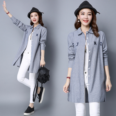 16 autumn new cardigan art large size women in the long section striped embroidery loose was thin cotton long-sleeved shirt