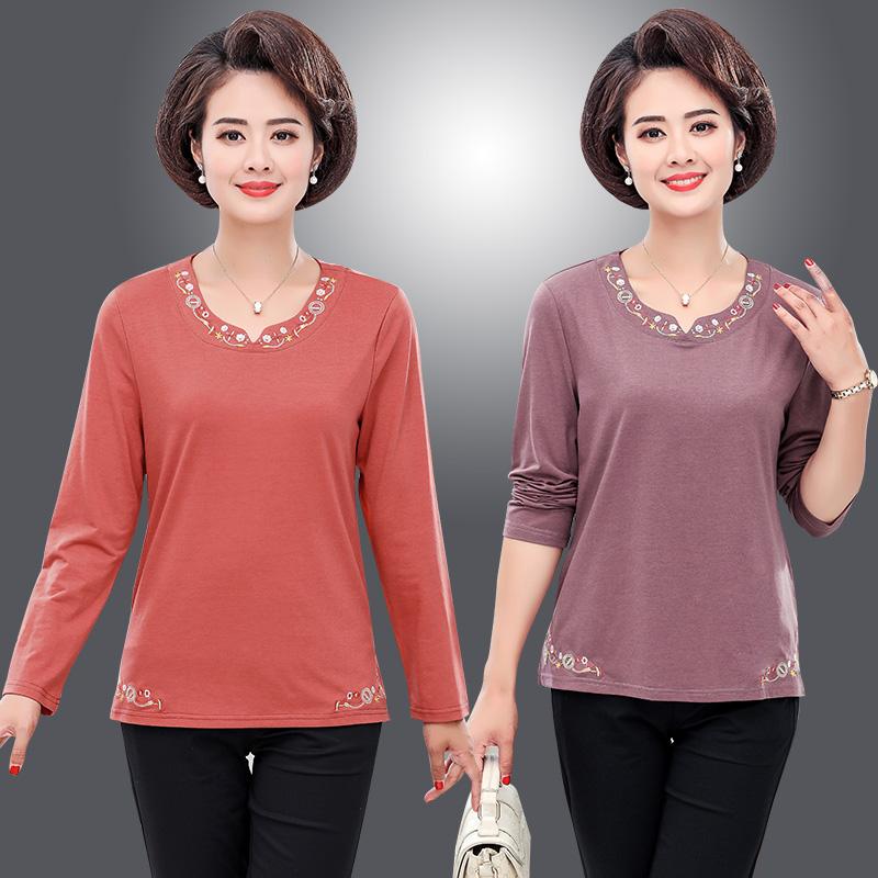 Các bà mẹ trung niên mặc áo thun cotton thêu tay dài mùa thu Nữ trung niên và phụ nữ cao tuổi cộng với áo sơ mi đáy rộng - Quần áo của mẹ