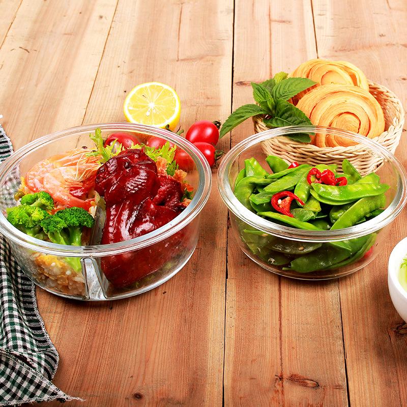 玻璃分隔饭盒微波炉专用保鲜盒饭盒套装便当盒带盖正方圆形保鲜碗_英家券