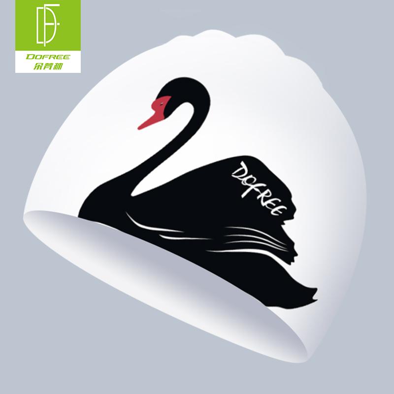 朵梵林硅胶泳帽女长发护耳可爱卡通天鹅印花游泳帽防水不勒头泳帽