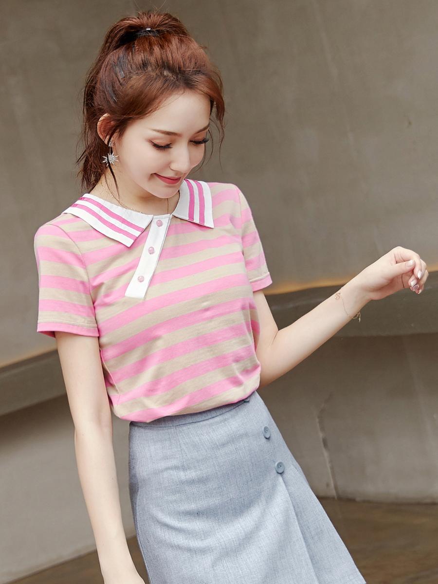 欧洲站夏装女2020新款短袖潮欧货粉色显瘦宽松纯棉彩虹条纹t恤女