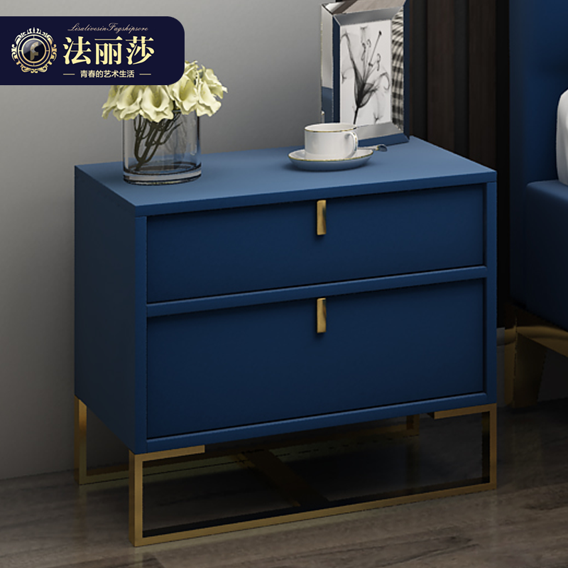 法麗莎家具后現代床頭柜簡約臥室儲物柜床邊柜子新古典床頭柜X1