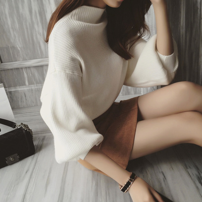 2017 autumn and winter new Korean women's semi-high collar bottom sweater loose hedging Lantern sleeve bat sweater