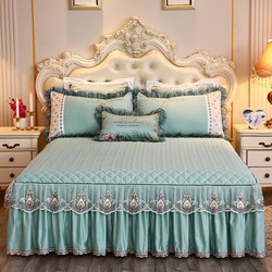 Big red bedspread one-piece Tencel Modal bed skirt wedding festive embroidery quilted bed cover cool ice silk summer
