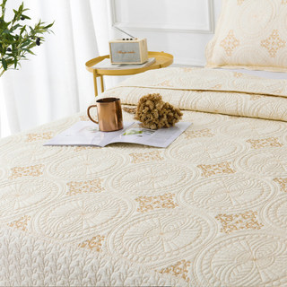 High-end export embroidered bed cover, embroidered quilted quilt, pure cotton, air-conditioning quilt, non-slip single piece, three pieces of cotton bed cover