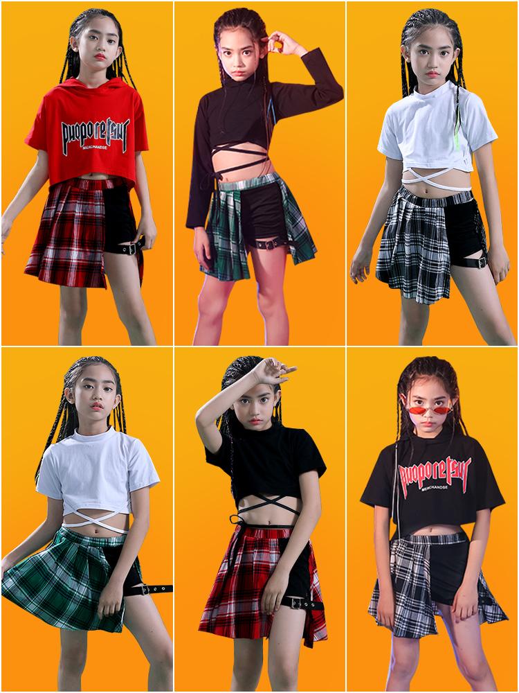嘻哈女童架子鼓街舞套装走秀上衣儿童爵士舞练功演出服装时尚潮服