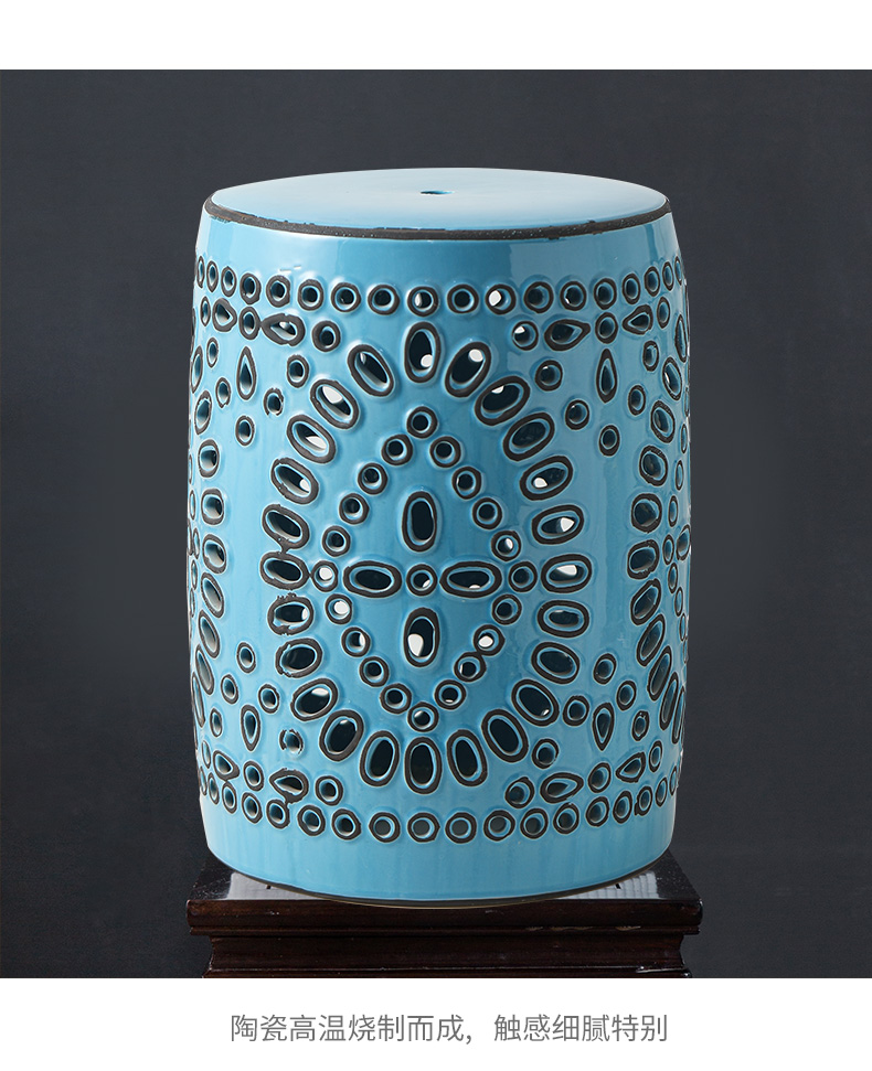 Rain tong household ceramic who Chinese style hollow out pattern porcelain ceramic drum who chair cold pier embroidered pier American porcelain ceramic block