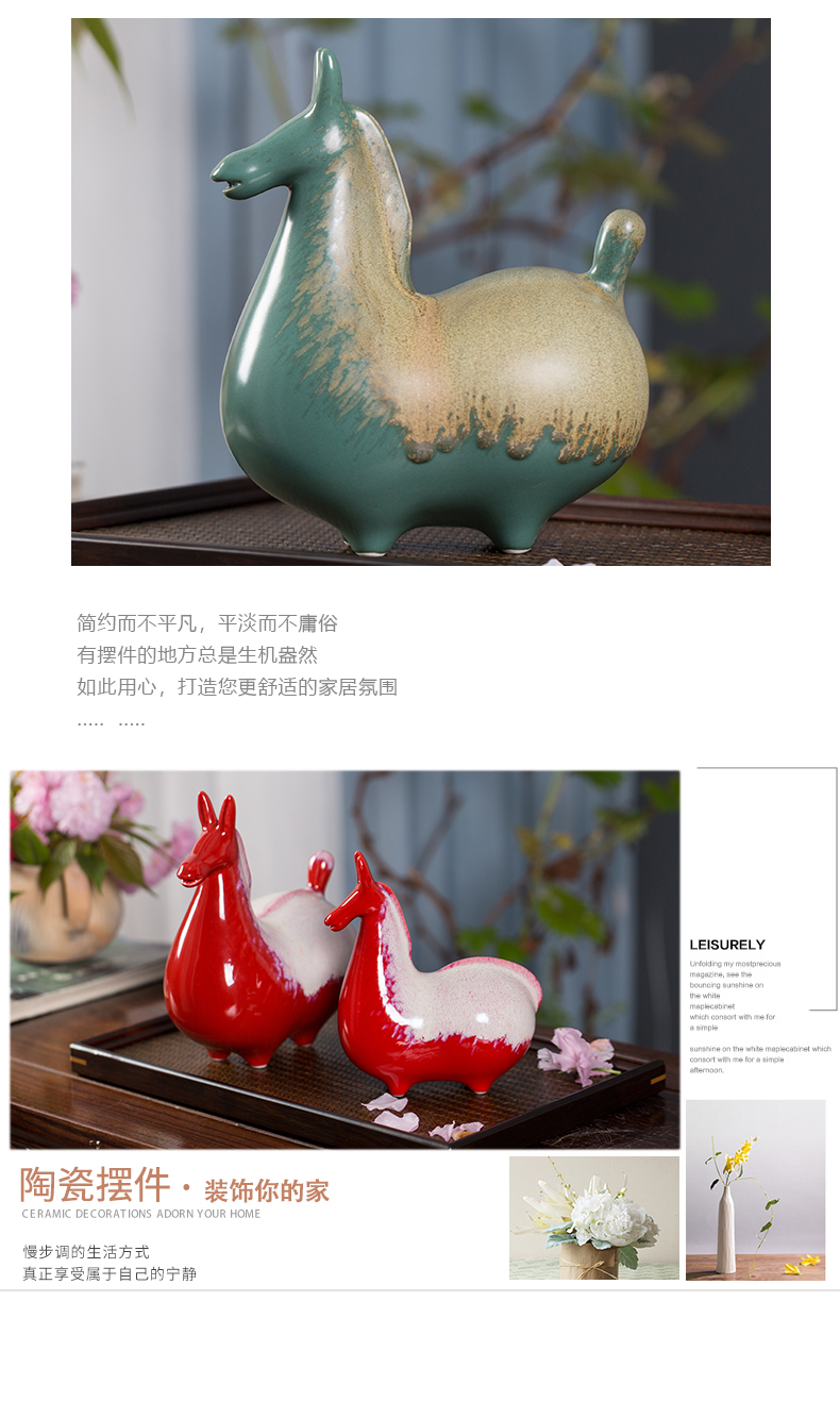 New Chinese style ceramic pony furnishing articles household act the role ofing is tasted study ancient frame don horse sitting room porch decoration