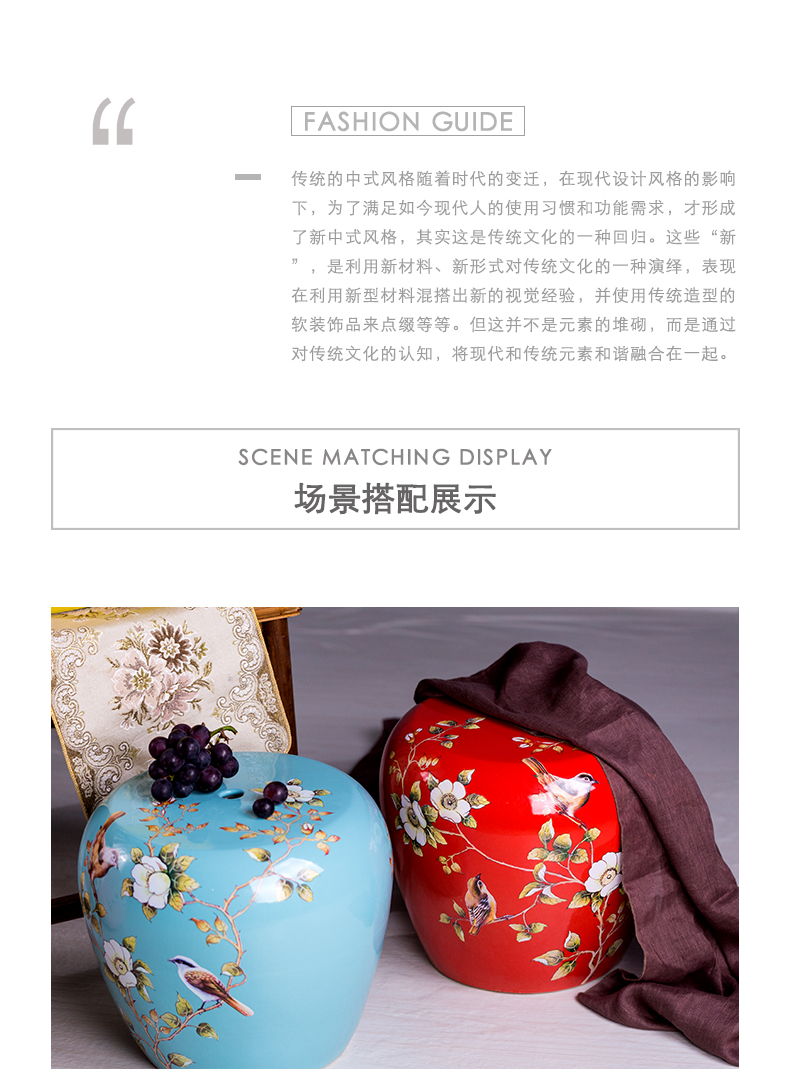 Jingdezhen high temperature ceramic drum who American rural wind hand - made flowers home dress and sit who pottery drum who embroidered pier