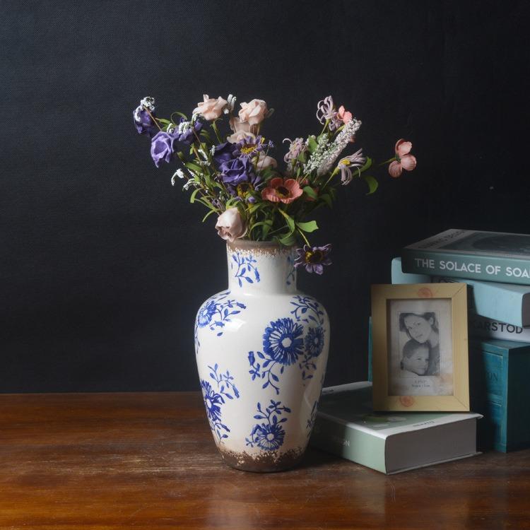 Rain tong rural village vase home porch study office flower implement creative flower ceramic vase