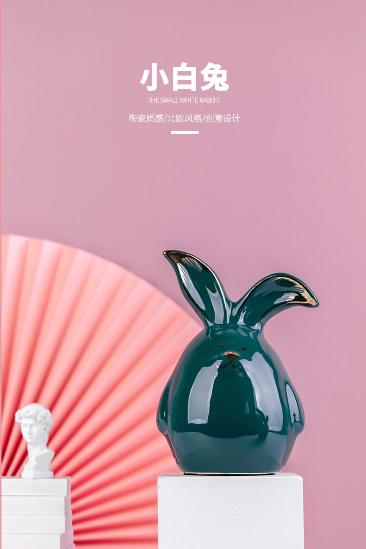 Ceramic rabbit northern wind small ornament adornment sitting room room study decoration household act the role ofing is tasted office furnishing articles