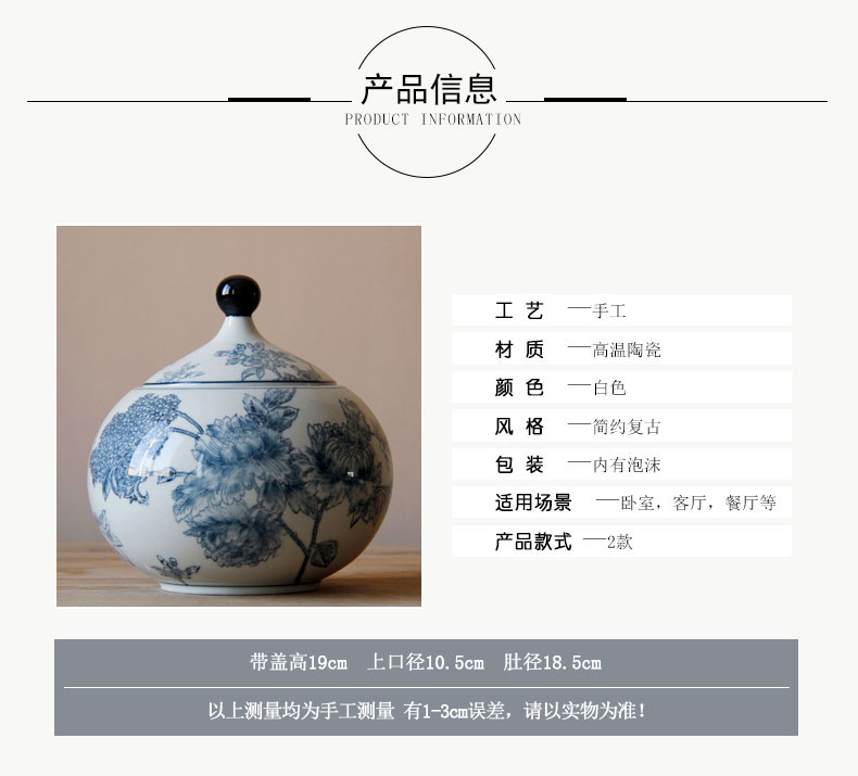 Rain tong home | jingdezhen blue and white ceramics freehand brushwork pointed creative household furnishing articles storage tank with cover pot