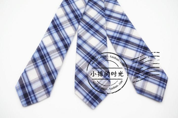 中國代購|中國批發-ibuy99|小排的时光蓝色清新大格子棉布窄领带学院风制服女士韩版