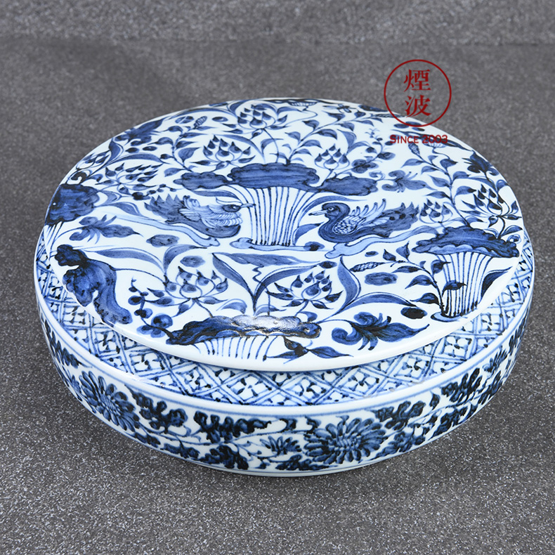 Those jingdezhen g frequently lianchi mandarin duck hall hand - made imitation of yuan blue and white porcelain tea box of the tea pot cover