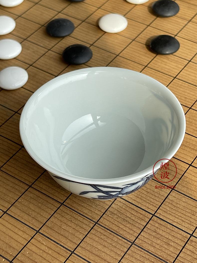 Those six movement of jingdezhen sleep mountain hidden up porcelain imitation Ming LanZhiXiu stone figure sample tea cup