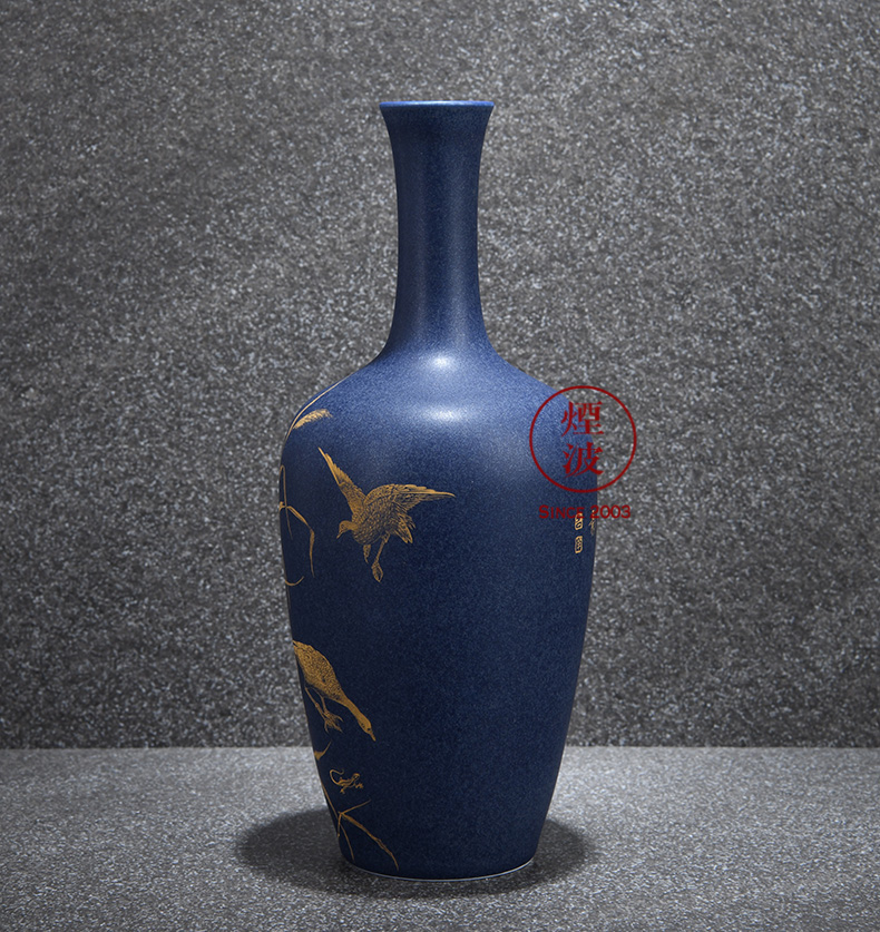 Those jingdezhen nine burn fuels the bluestar glaze wonderful hand burnt work reed pond was the qing shadow vases, flower implement