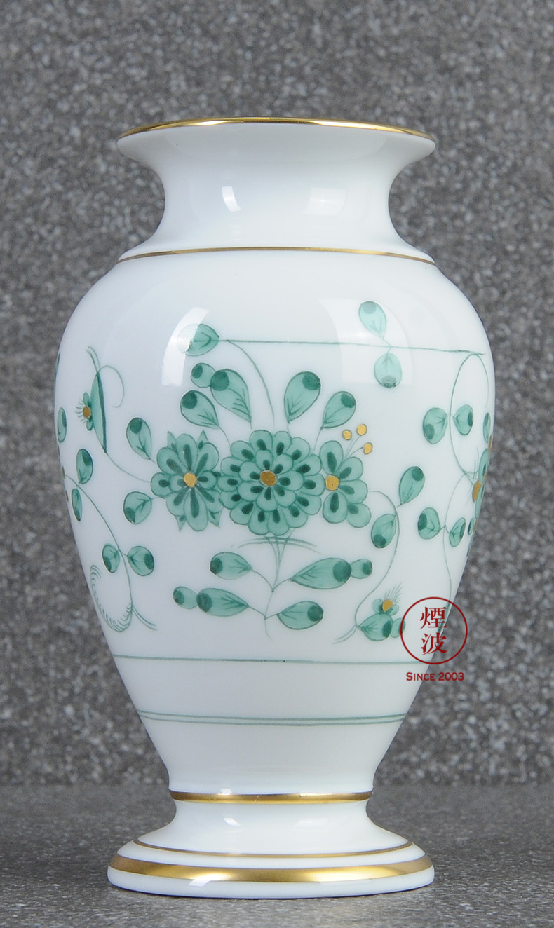 German mason MEISSEN porcelain new clipping green flower vase home furnishing articles 110 mm in India