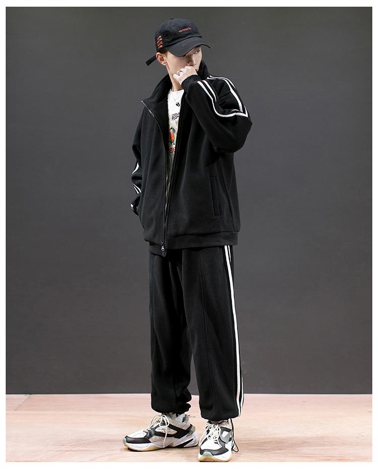 双面加绒休闲运动套装男冬季新款卫衣青少年两件套DS589TP85