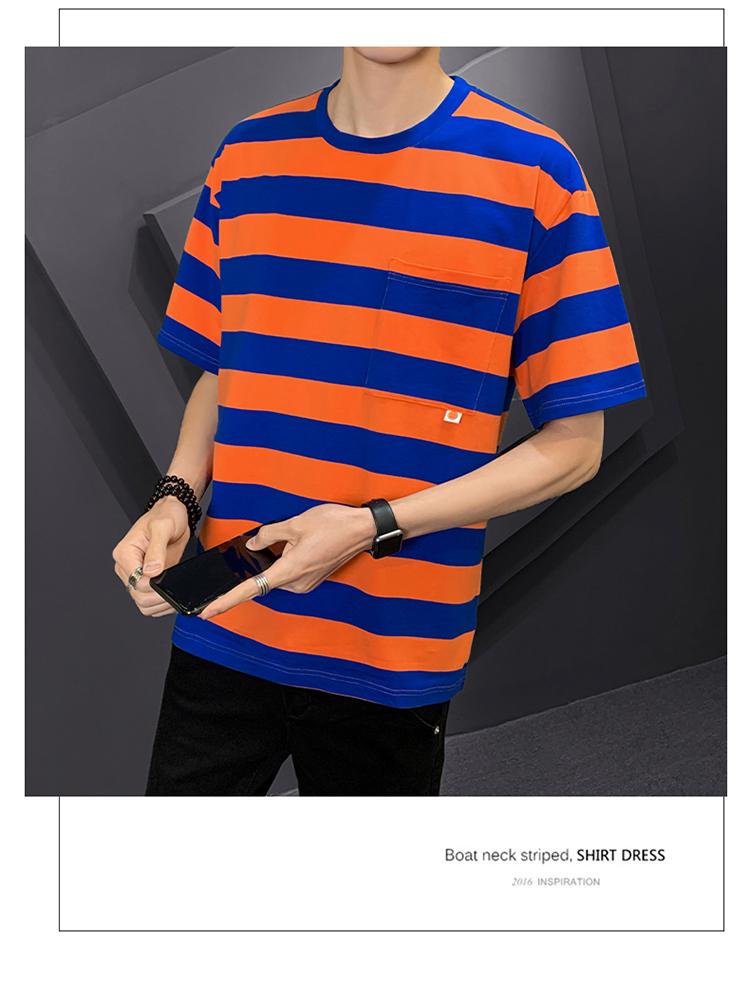 已质检 潮牌夏季T恤男短袖条纹短袖T恤青少年T恤男DS719TP35