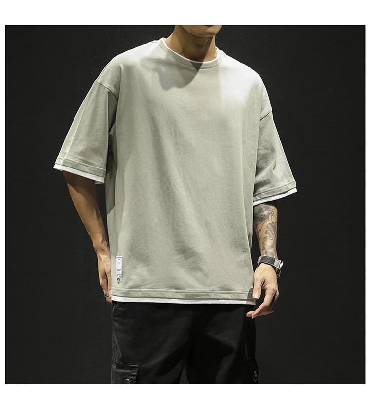 夏季男士短袖T恤潮流假两件半袖上衣青少年纯棉T恤男 DS347TP25