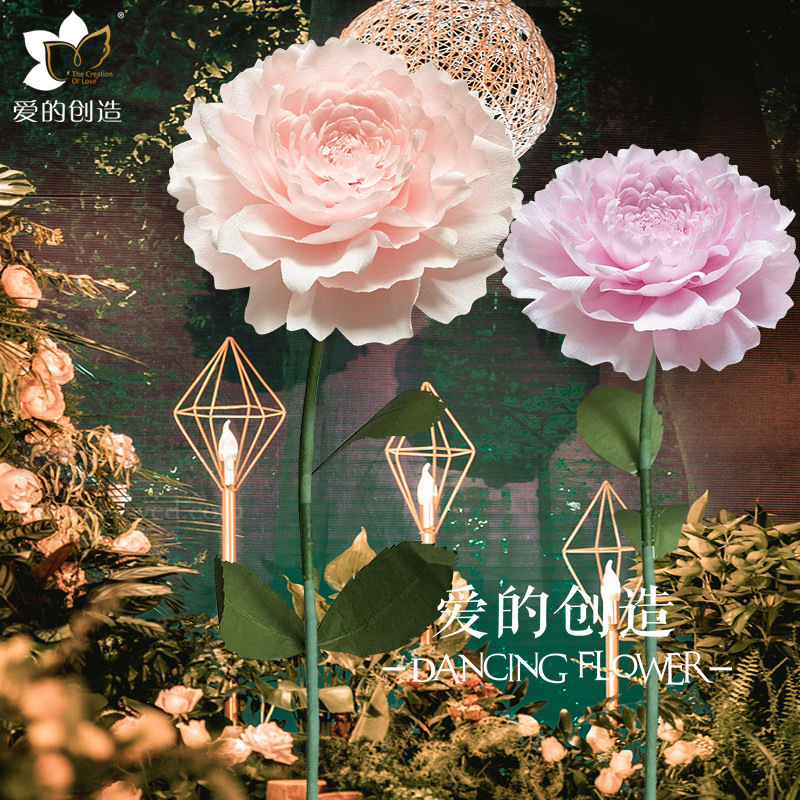 Large Wedding Decoration Window Flower Wall Background Wall Indoor Photo Studio Photo Imported Crepe Paper Three Dimensional Handmade Paper Flowers