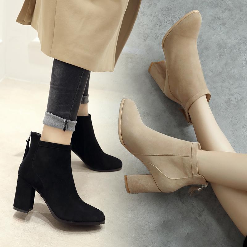 秋冬女韩版2019新款靴子真皮小粗跟女靴女圆头马丁靴时尚百搭短靴