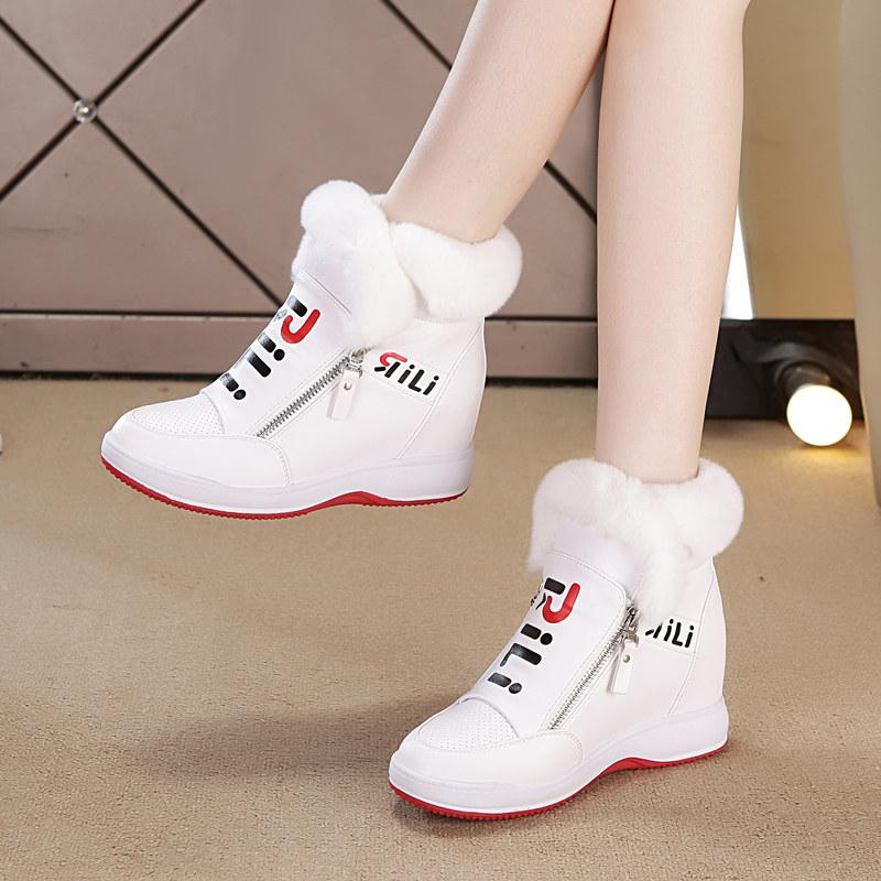 冬季兔毛内增高女鞋2018新款短靴加绒厚底保暖雪地靴女白色毛毛鞋
