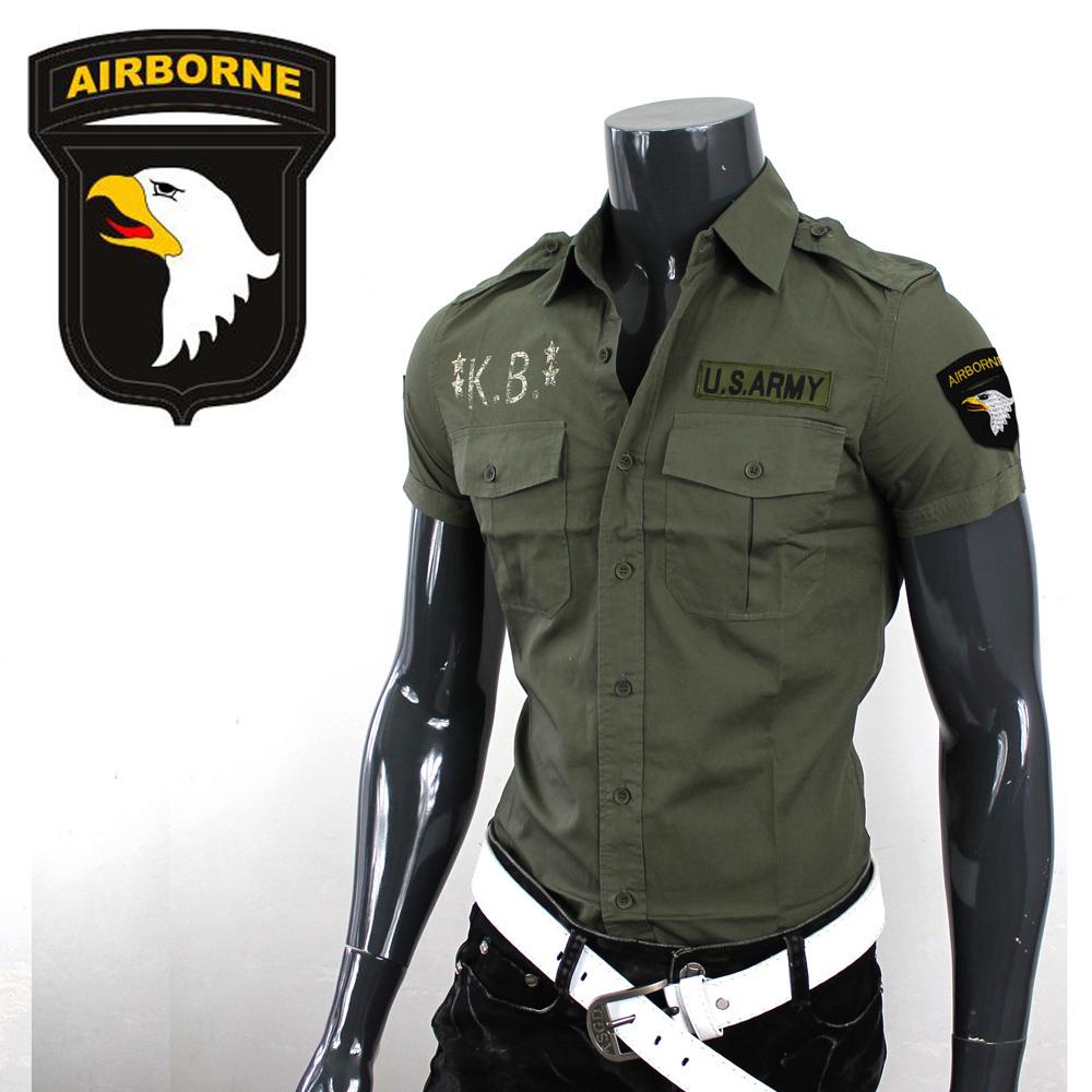 短袖衬衫军绿海豹修身男工装三角洲肩章突击队101v短袖师军迷
