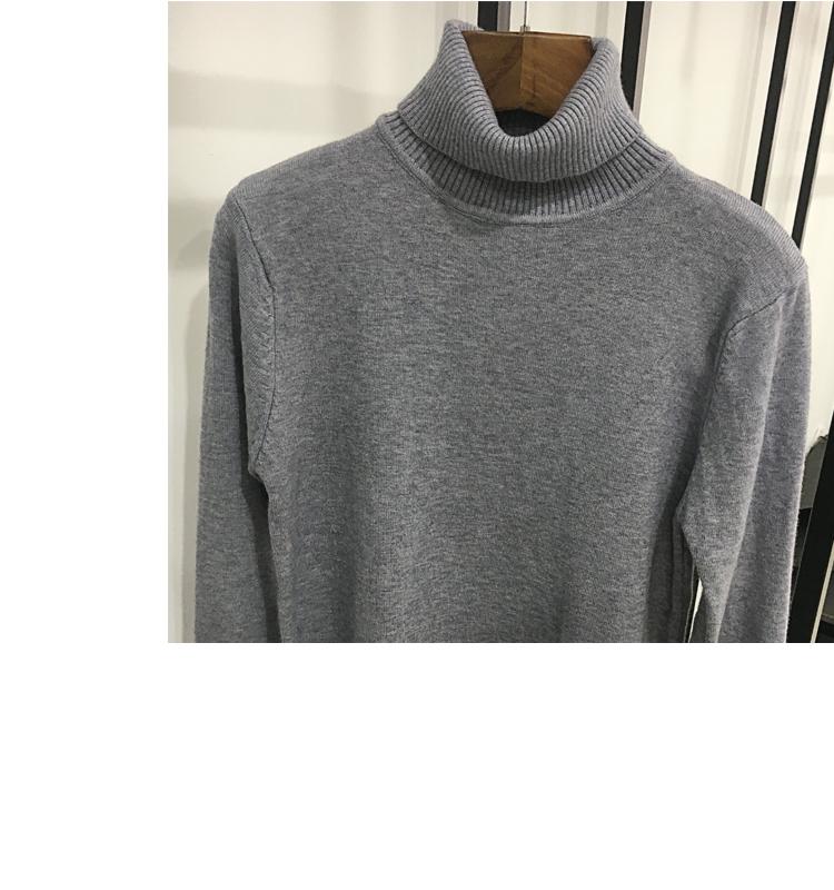 Cao cổ cao cổ của nam giới rắn màu len áo len mùa thu và mùa đông Hàn Quốc phiên bản của xu hướng của sinh viên đáy áo kinh doanh hai ve áo cổ áo