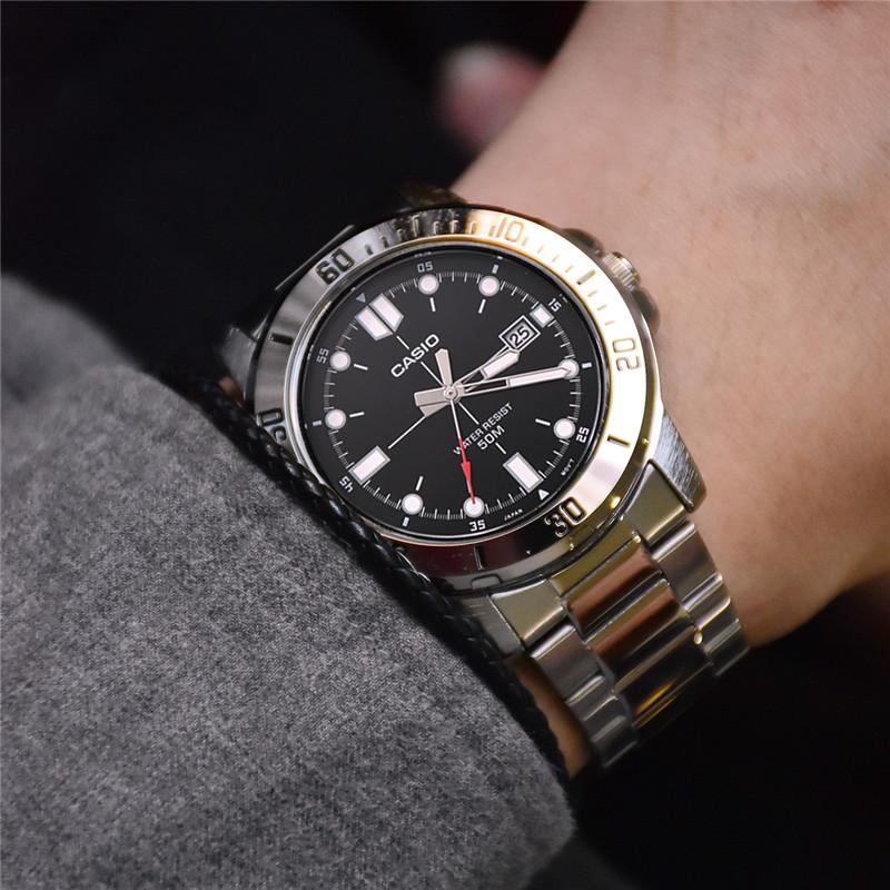 卡西欧商务男腕表金属手表钢带经典机械v商务防水指针MTP-VD01D-1E