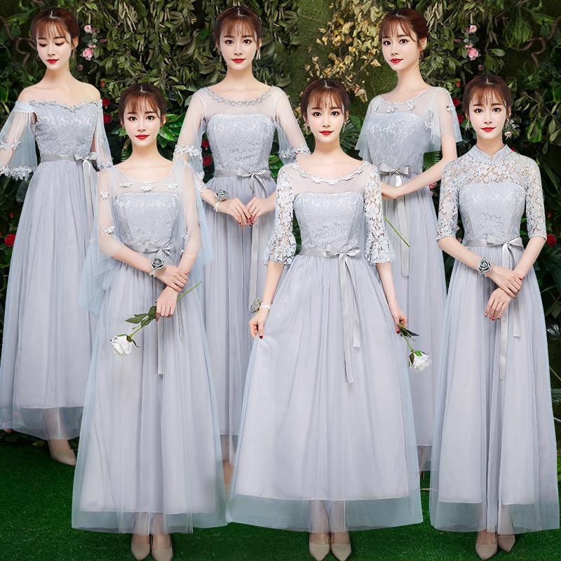 伴娘姐妹女2019新款仙长裙特别个性创意气质团中礼服闺蜜装大码春