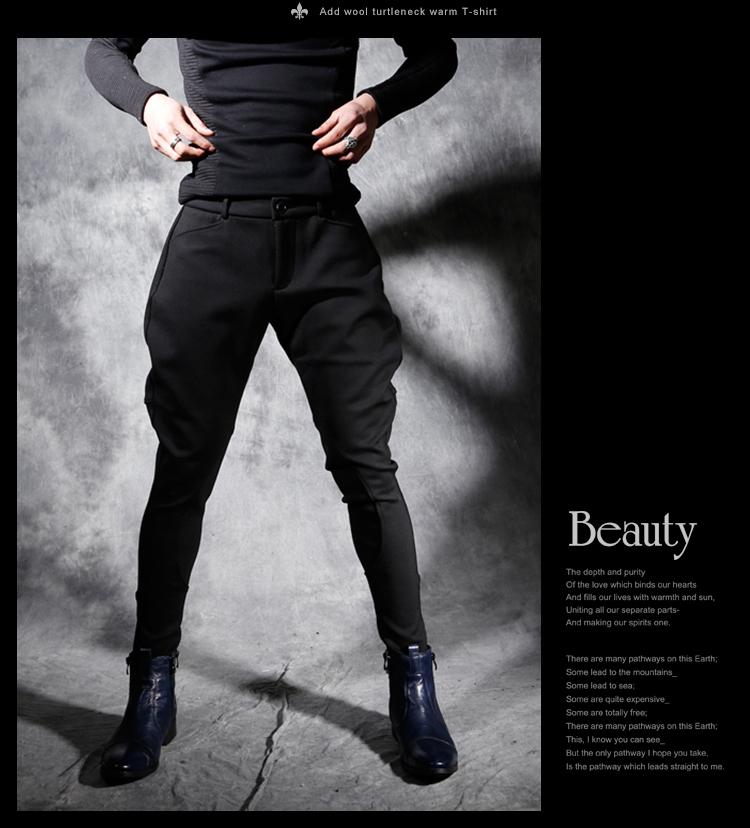 Quần Harem nam skinny đen chéo quần mùa thu đông xu hướng nam Hàn Quốc cộng với quần nhung dày, giày cao cổ - Quần mỏng