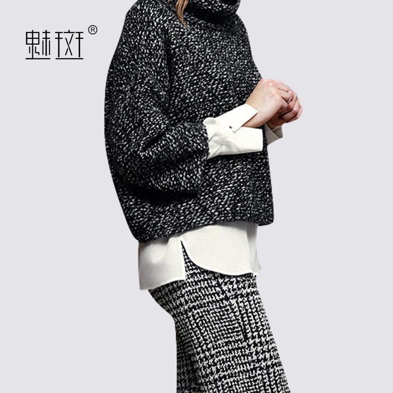 魅斑欧洲站半高领外套长袖衬衫休闲格子长裤时尚气质套装女三件套