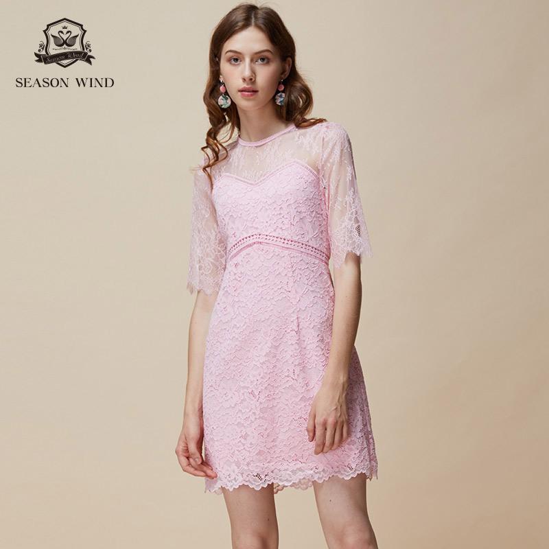 季候风 圆领纯色高腰中袖 蕾丝连衣裙 天猫优惠券折后¥328包邮(¥478-150)2色可选