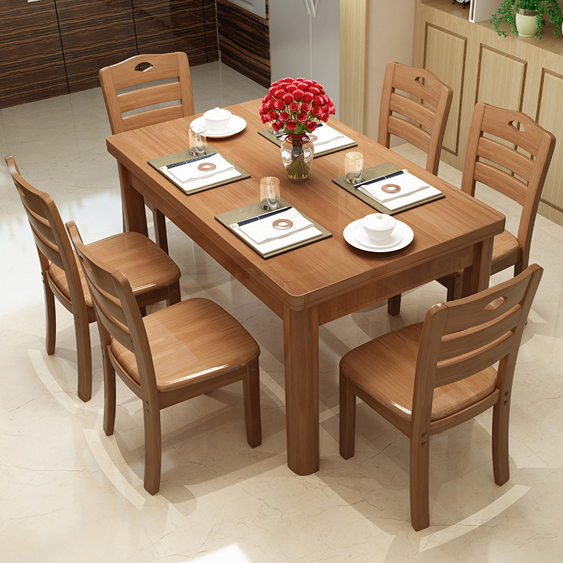 Solid Wood Dining Table And Chair Combination Rectangular 1 2 M Small Log Western Simple