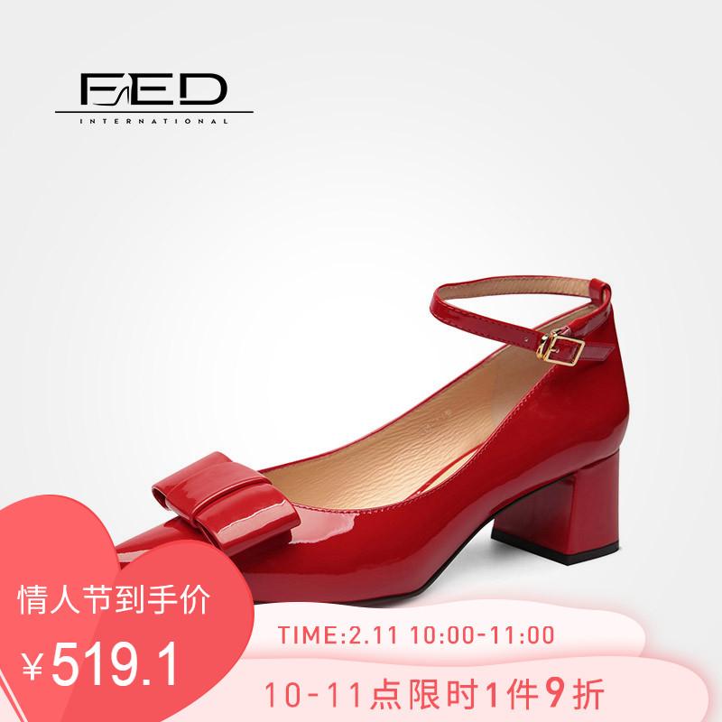 fed2019新款女鞋春季时尚蝴蝶结一字带黑色尖头粗跟单鞋1883080