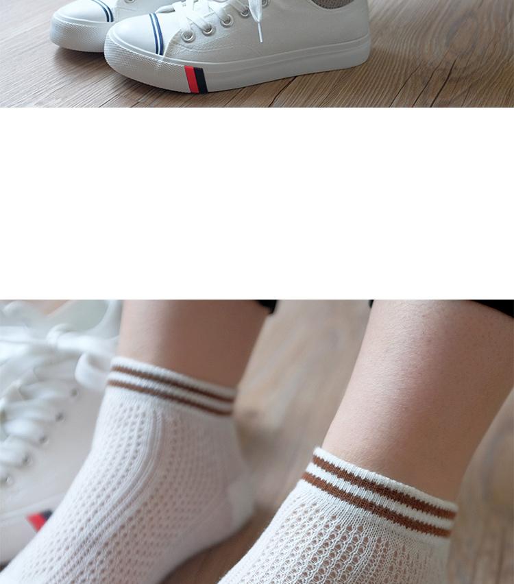 五指袜女薄网眼透气短筒全棉夏季渔网分趾袜运动二槓学院风女短袜详细照片