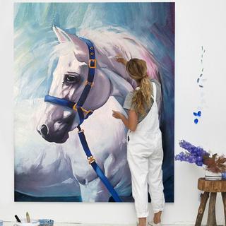 Масло, акварель,  Ручной работы живопись лошадь современный вертикальное исполнение вход декоративный живопись континентальный ручной работы издание картины магазин фреска творческий сделанный на заказ, цена 5304 руб