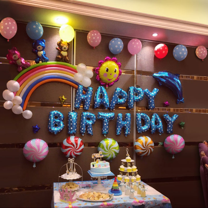 Baby One Year Old Birthday Decoration Package Happy Children Theme Party Background Wall Supplies Cartoon Balloon