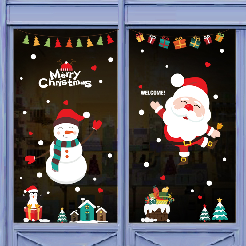 Christmas Window Glass Door Stickers Decorations Tree Wall Restaurant Shop Self Adhesive