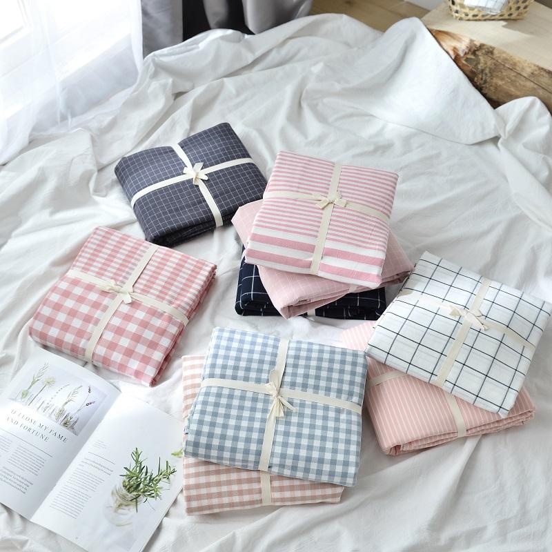 良品纯棉90x200单件学生宿舍床笠无印水洗棉席梦思保护套加大床单
