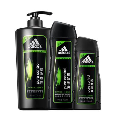 阿迪达斯男士洗发水洗发露沐浴露套装洗头膏控油去屑学生持久留香