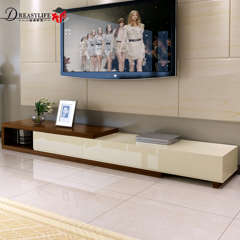 Living Room Furniture Set Retractable Storage TV Cabinet Coffee