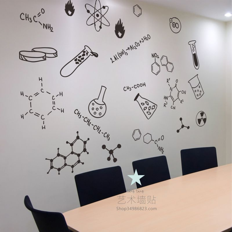 usd 12.21] chemical formula science laboratory wall stickers